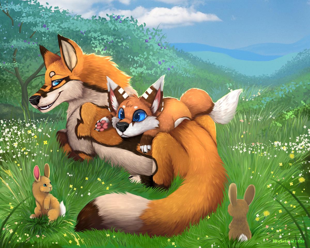 Day Outside  Illust of Skykristal medibangpaint illustration scenery painting furry character feral animal fox oc chibi
