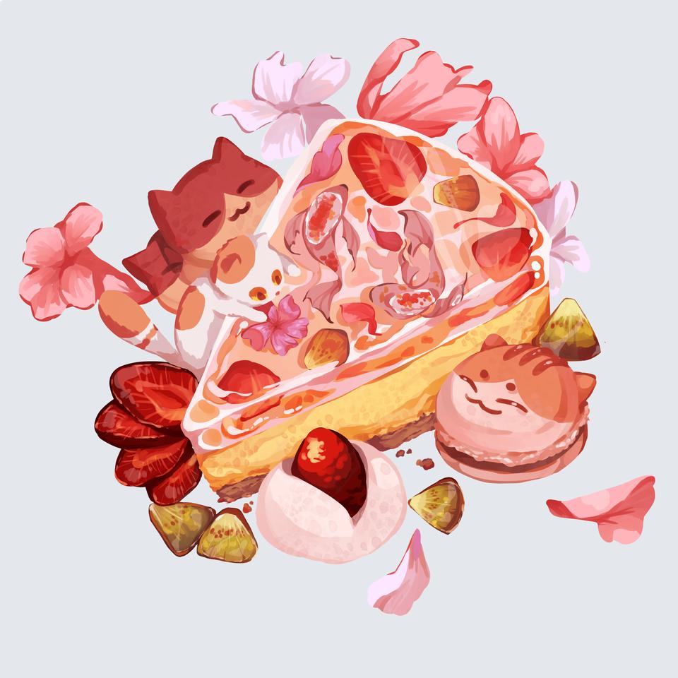 Dtiys for instagram @kueginger_study Illust of Mumechi cat_ears iPad_raffle cat food fish pink illustration koi pretty kawaii
