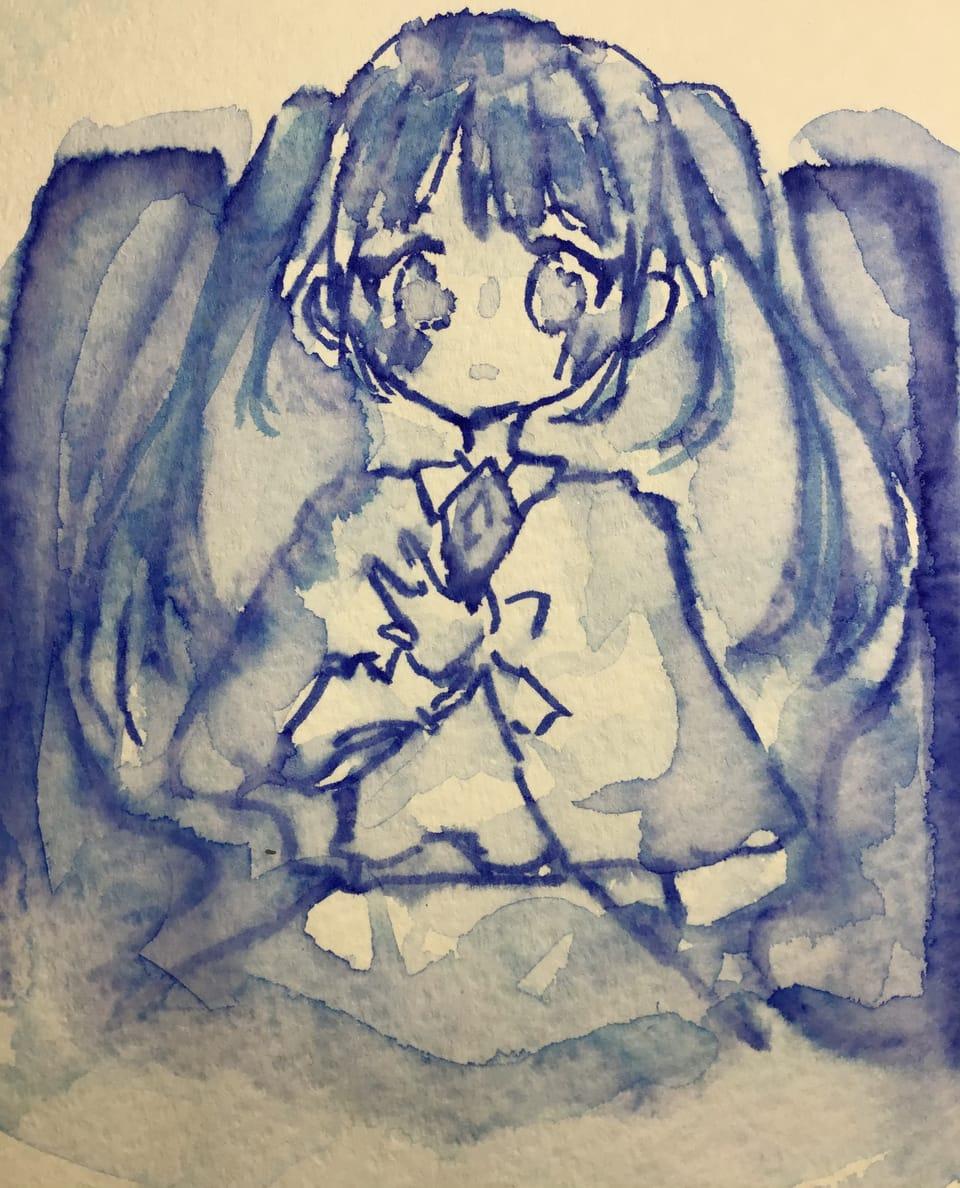 宝物 Illust of 兎爬ことり#アナログ同盟 May2021_Monochrome kawaii twin_ponytails 青色 girl AnalogDrawing