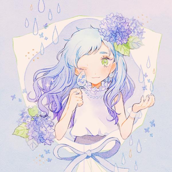 candy drop Illust of 緑乃 rain girl 梅雨 飴 original hydrangea