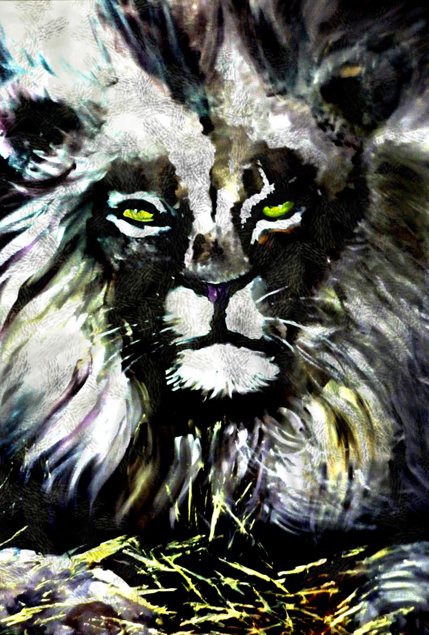 The king of ambition Illust of Grandicelli Susanna June2021_Anthropomorphism May2021_Monochrome ponytail digitale tela OliO leone pittura