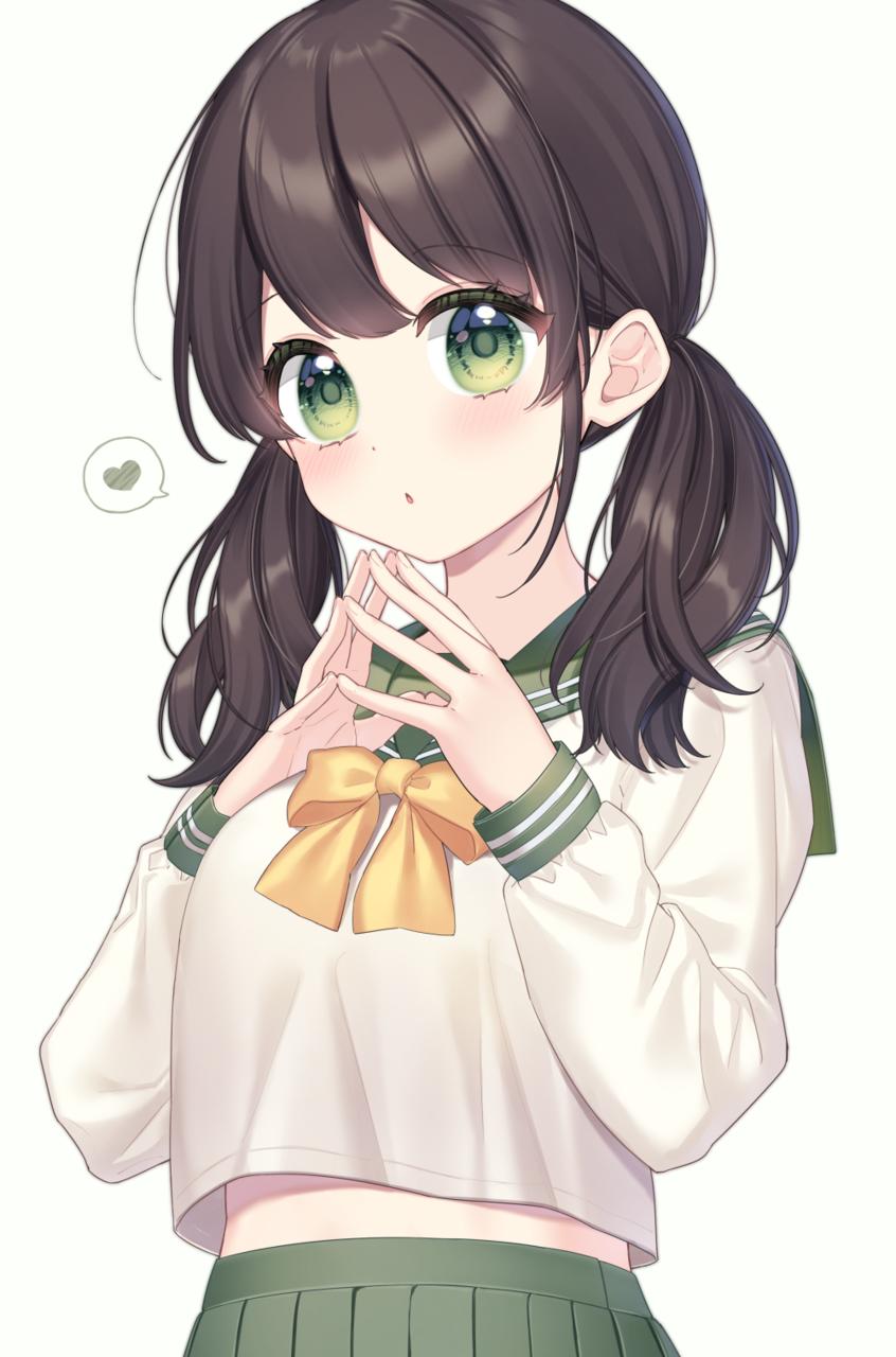 💚 Illust of かしなーた おさげ 女子高生 original girl
