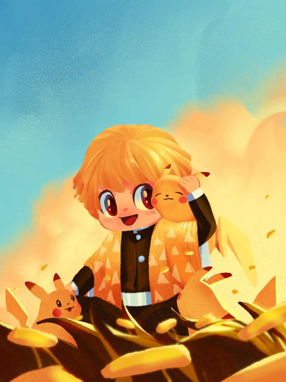 Zenitsu Agatsuma & Pikachu | Procreate on Ipad Illust of KICKYOURART fantasy AgatsumaZenitsu KimetsunoYaiba