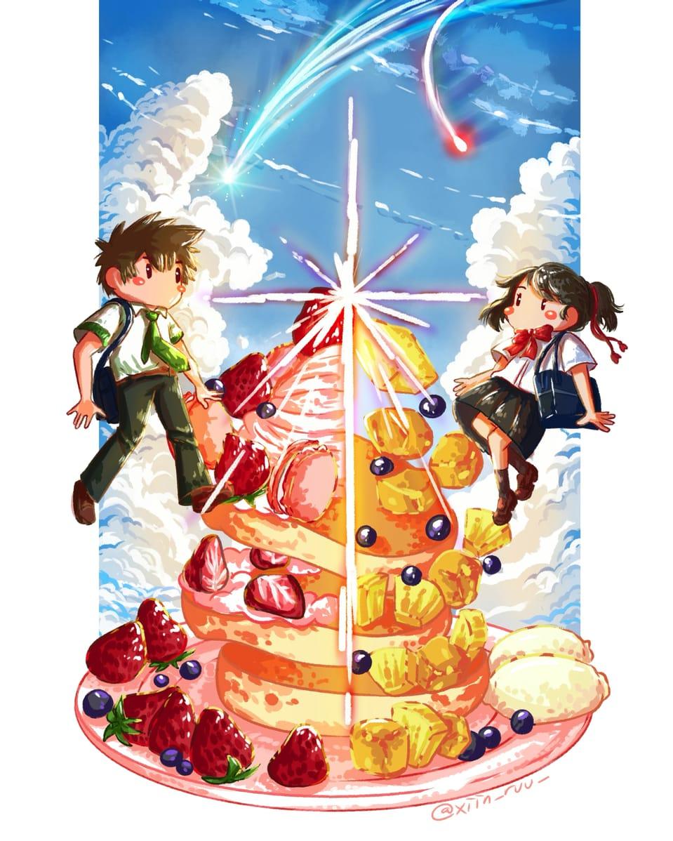 君の名は。 Illust of xiin_ruu_ illustration YourName. girl food cute art fanart MyArt boy anime