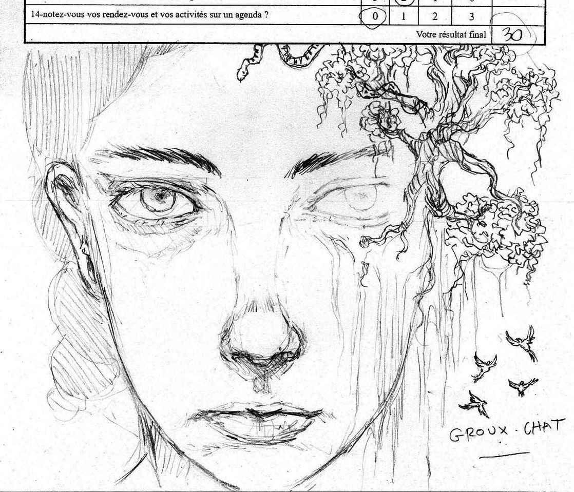 Gribouillage Illust of Hard-Jaw illustration girl dessin pencil drawing crayon