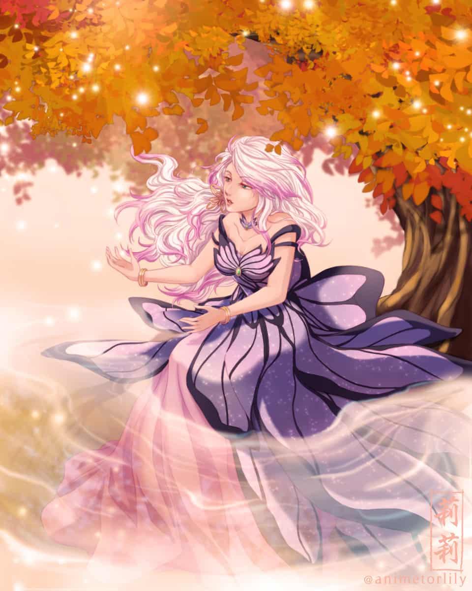 Butterfly Goddess Illust of animetorlily manga female autumn butterfly anime oc
