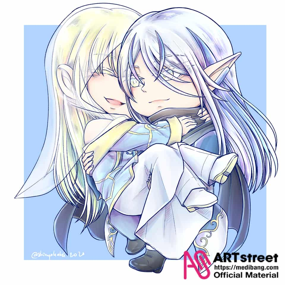 Pure Couple Illust of Shinya Kakei tracedrawing chibi Trace&Draw【Official】 blue pure healer mage elf Holy wizard couple