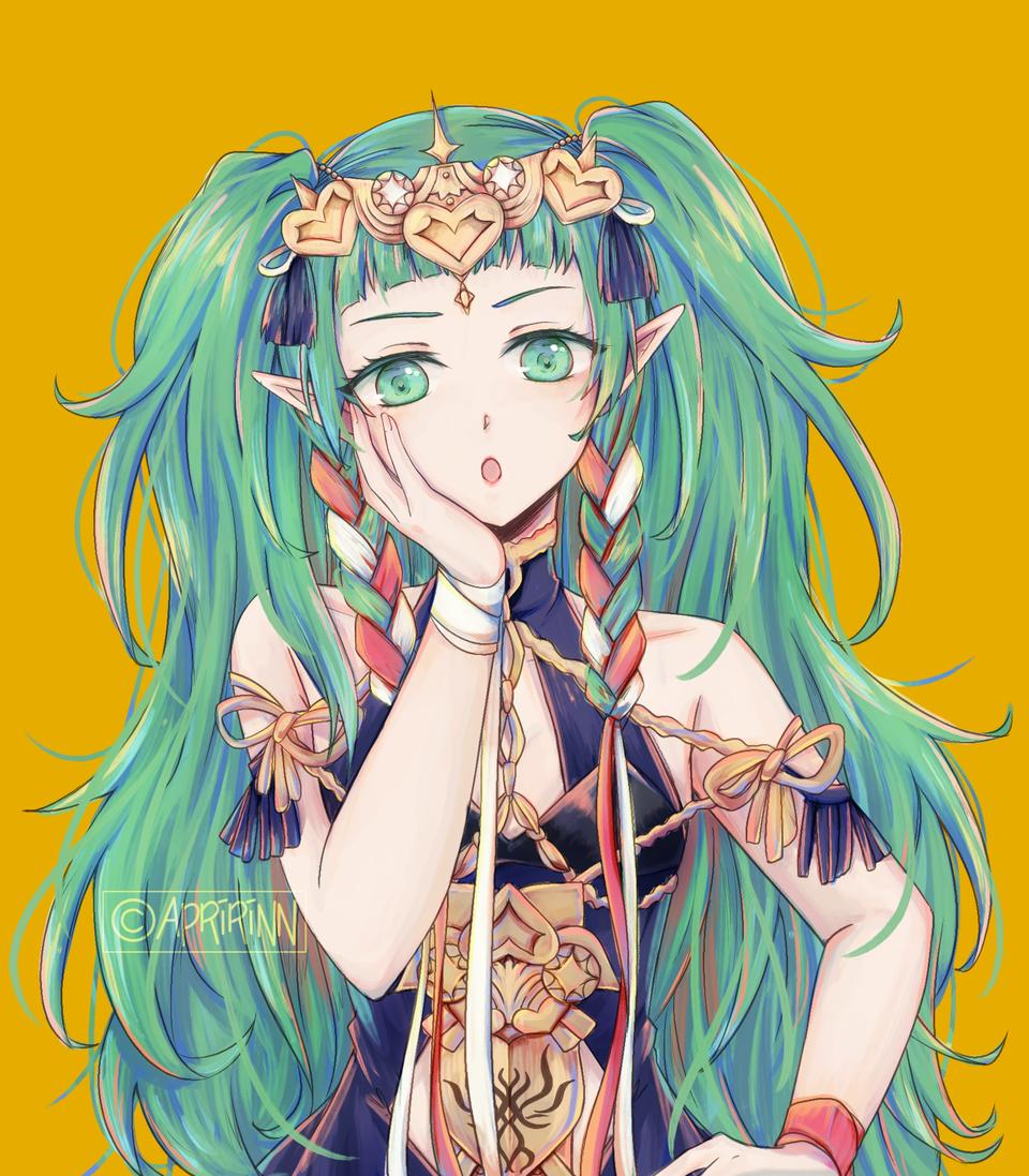 Sothis Illust of Apririnn (Onigiri) ARTstreet_Ranking medibangpaint girl FireEmblemHeroes goddess FireEmblem greeneyes FE3H Sothis greenhair
