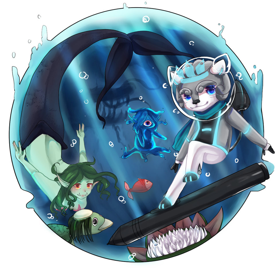 Leon's water adventure Illust of AwkwardTobi adventure HuionDesign water contest