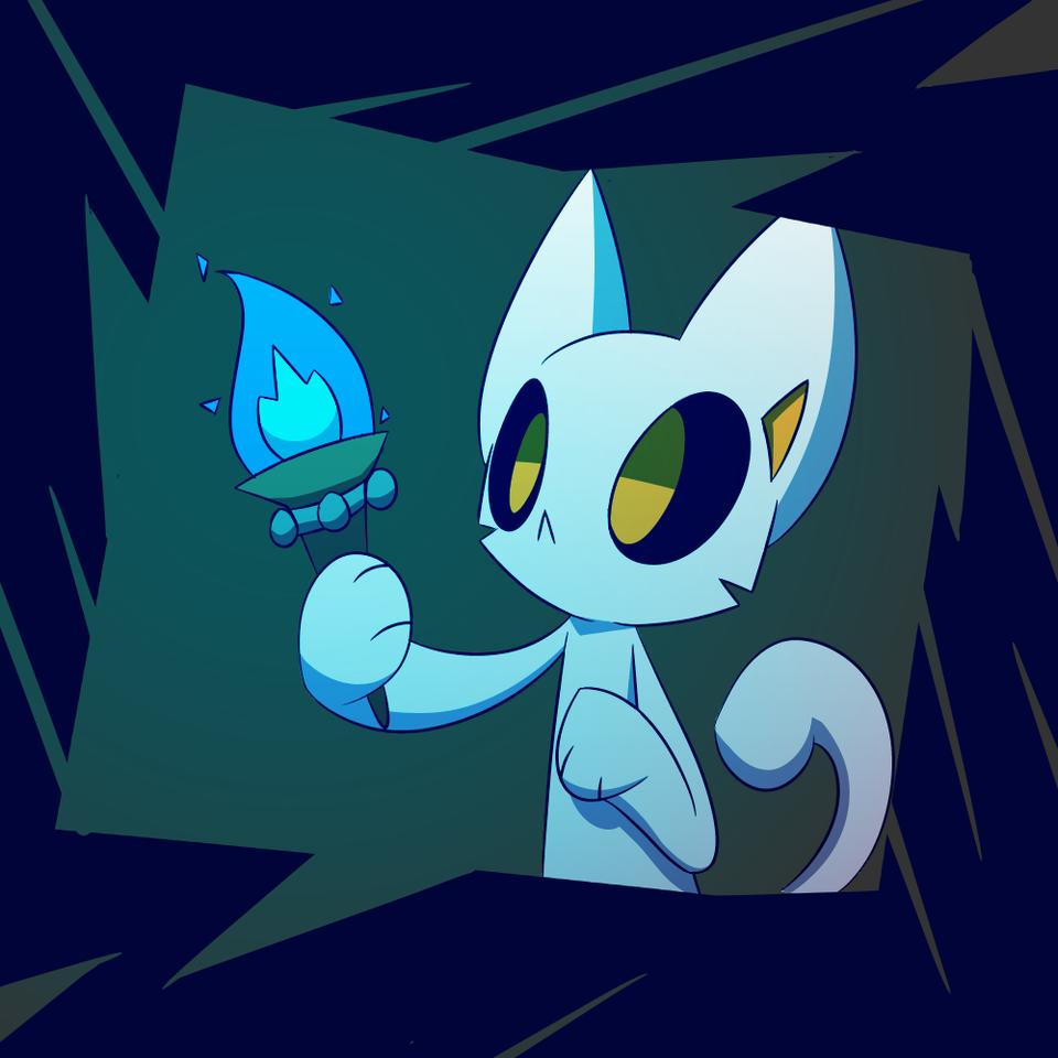 Dark Light Practice Illust of PopTwist medibangpaint Light cat PopTwist