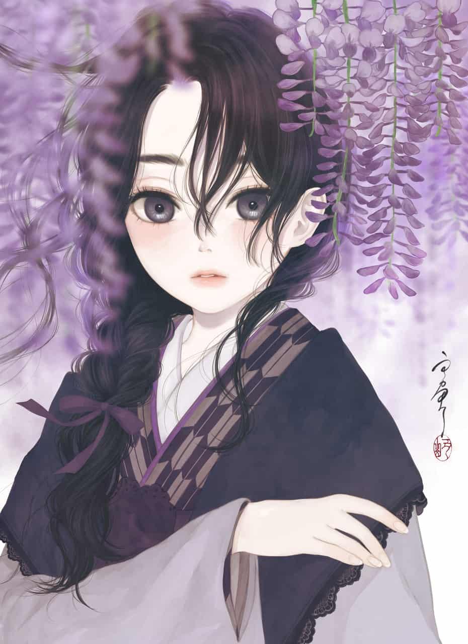 初恋は藤色 Illust of 丑山 April2021_Flower 恋 kimono purple girl 藤の花
