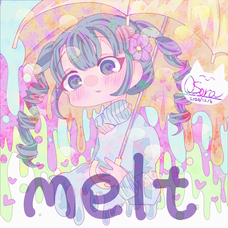melt Illust of OSora rain hatsunemiku umbrella chibi