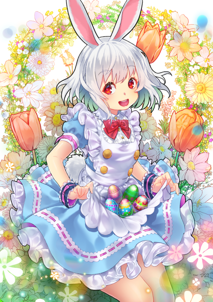 Easter Girl Illust of Ns March.2020Contest:Easter うさ耳 girl Easterbunny Redeyes Easter rabbit EasterDay エプロンドレス