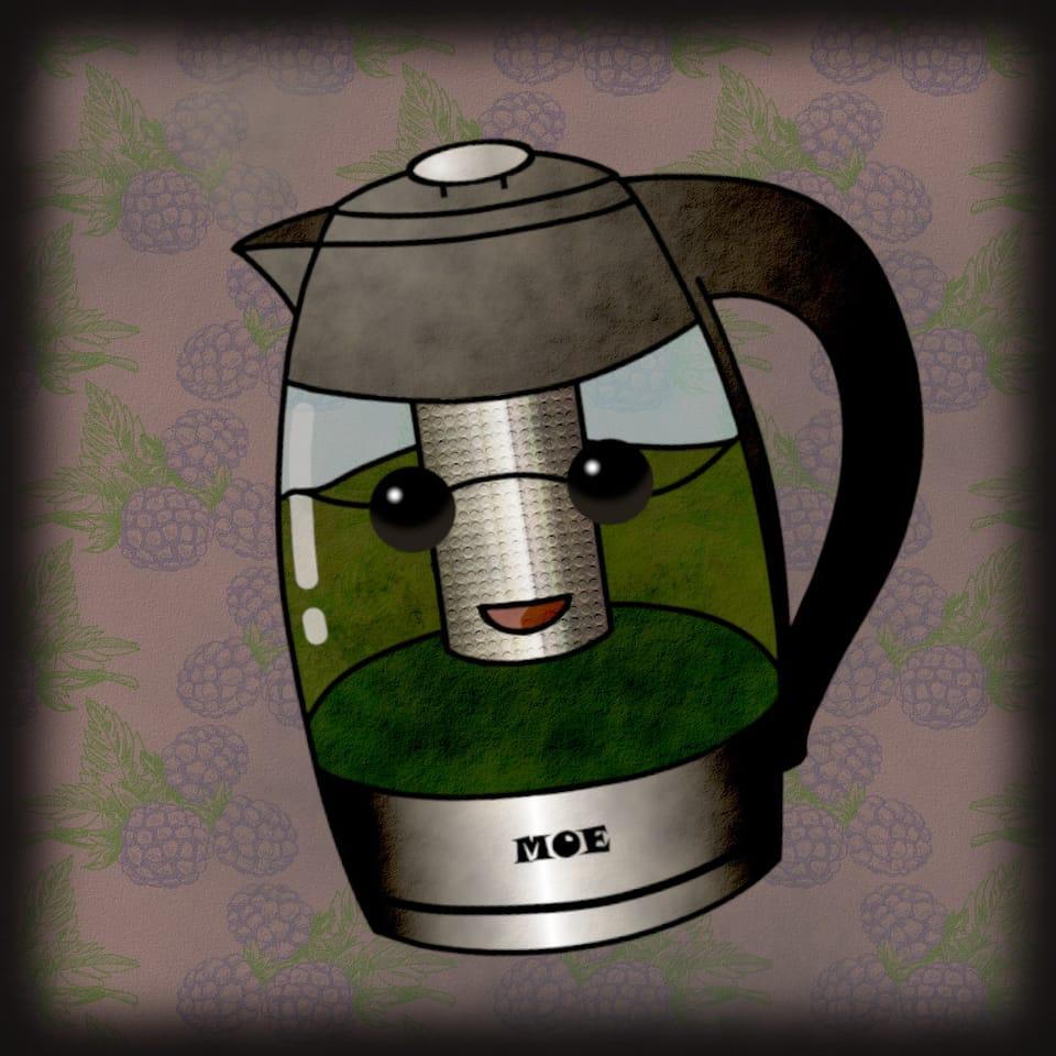 Electric Kettle Illust of CopperNeon giftyouwant2020 giftyouwant2020:10000YenGift chibi vintage pink coffee kawaii cute anime tea green cartoon