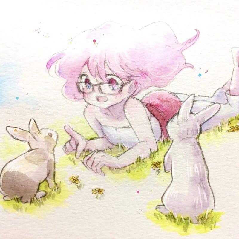 うさぎと女の子 Illust of northpole. rabbit 一次創作 oc watercolor girl レッツワンドロ original
