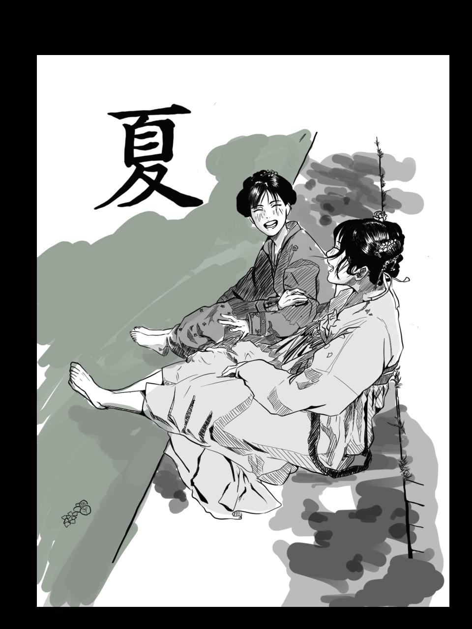 なつ Illust of Ikeda May2021_Monochrome summer illustration girl Girls monochrome friend