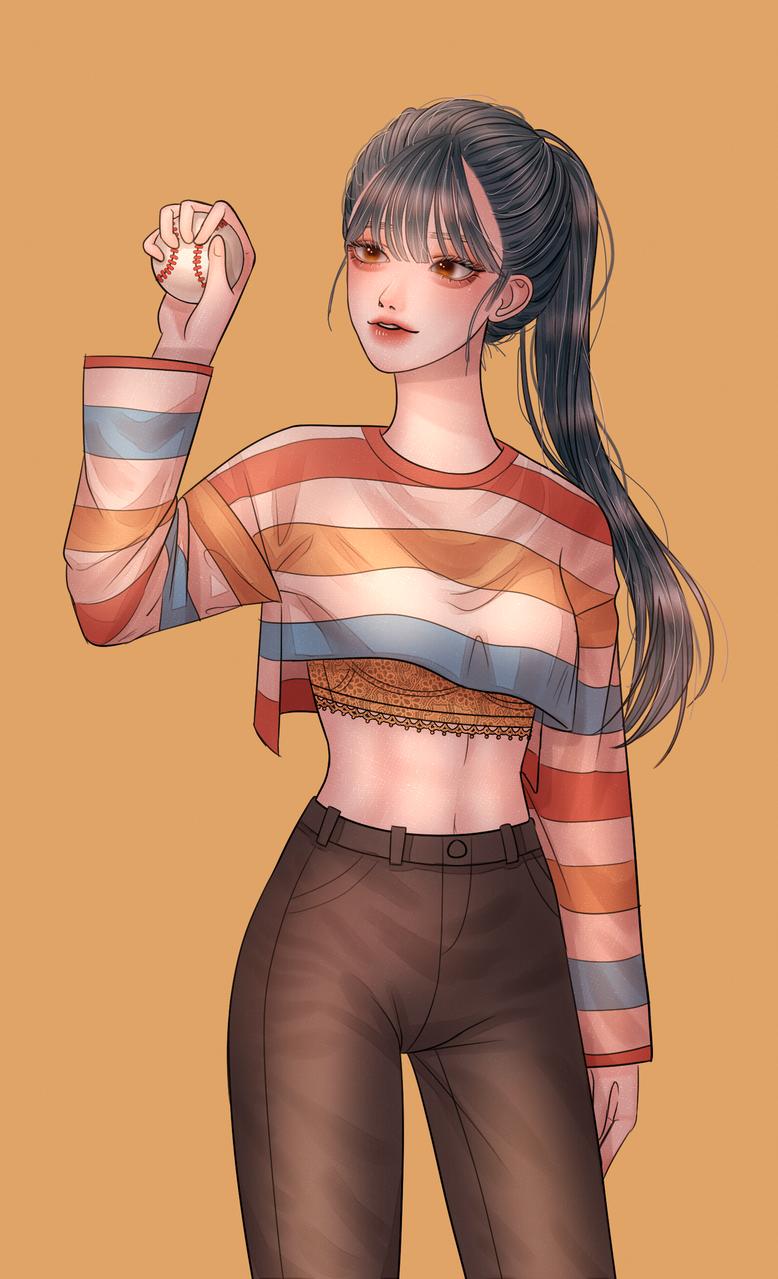 공 좀 던져주세요 Illust of 감흙 medibangpaint girl ponytail 黒髪