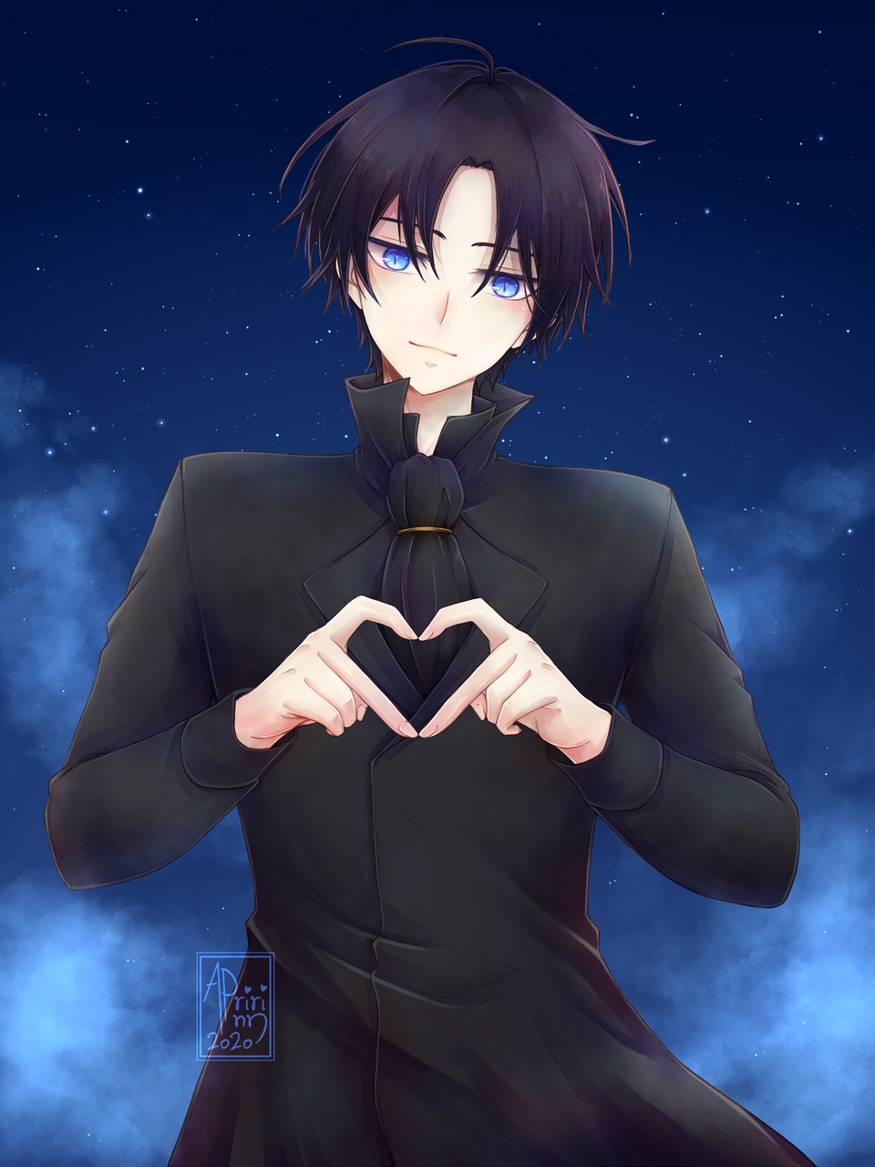 Rood heart Illust of Apririnn (Onigiri) ARTstreet_Ranking guy BlackHaze fanart Manhwa coat blueeyes heart raffleprize blackhair nightsky