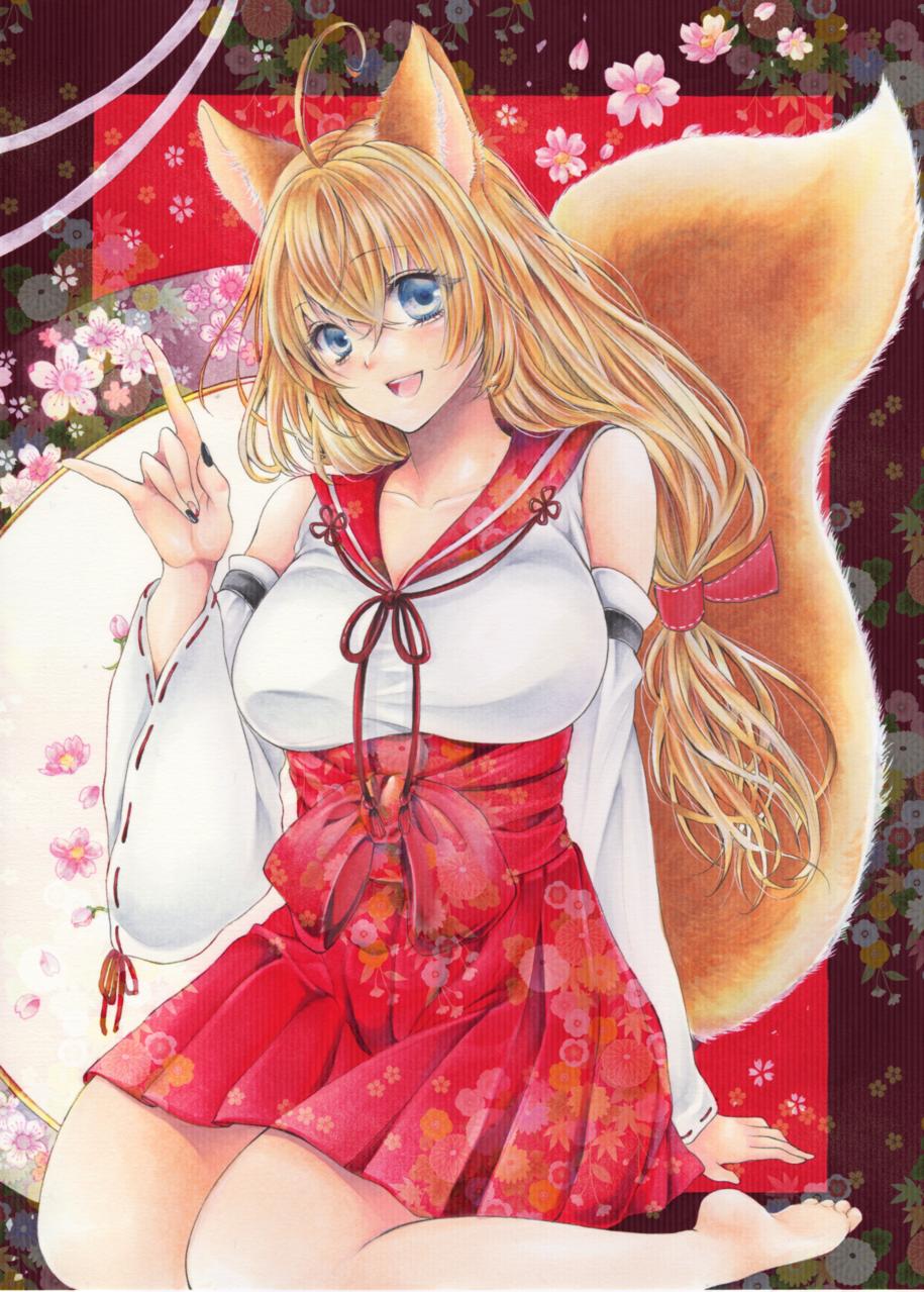 狐巫女 Illust of 乙原 小寿々 ARTstreet_Ranking アナログ Personification 巫女 Copic girl fox illustration