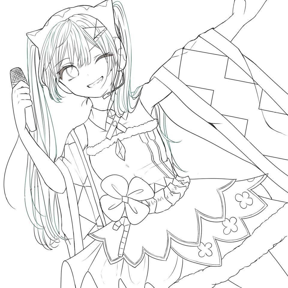 マジミラミクちゃん Illust of air24 VOCALOID line_art hatsunemiku マジカルミライ2020 girl winter portrait