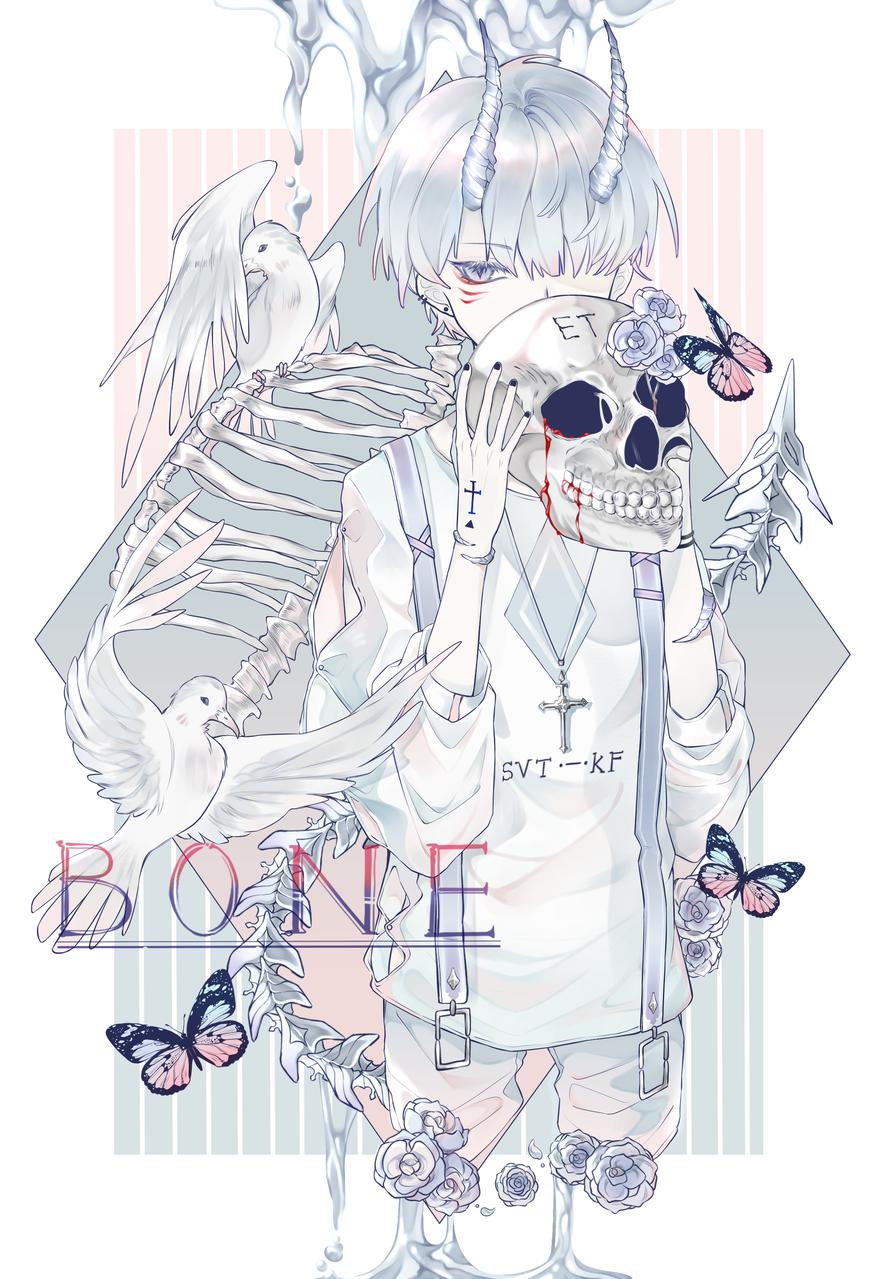 BONE Illust of 阿闲不想睡觉 medibangpaint boy birds 小男孩 骨 white_hair