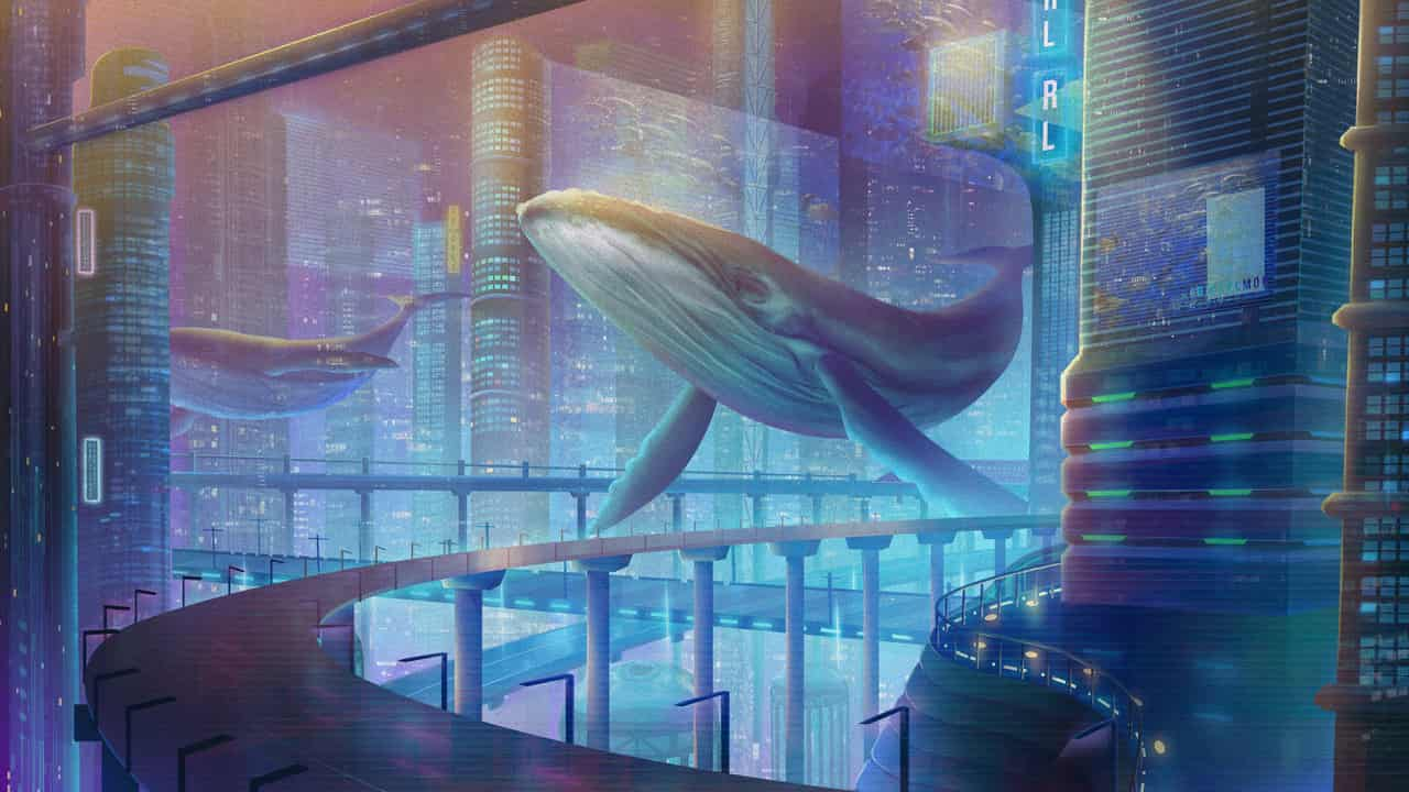 City in the future Illust of Aerobicsalmon fantasy Original_Illustration_Contest cityscape surrealism City sky Ethereal Whale Magical