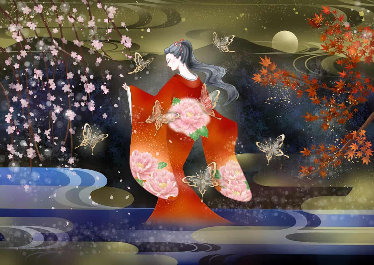 KIMONO GIRL Illust of SUI Kyoto_Award2020_illustration sakura kimono 着物女子 もみじ 紅葉 girl 満月 portrait