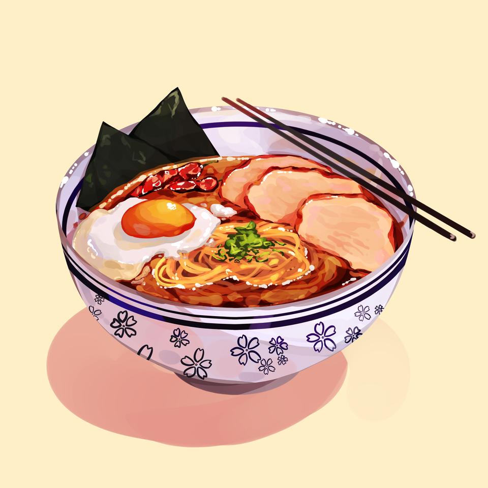 Spicy Ramen commission for @khaljiit Illust of Mumechi October2020_Contest:Food NARUTO illustration ill food cute iPad_raffle Ramen