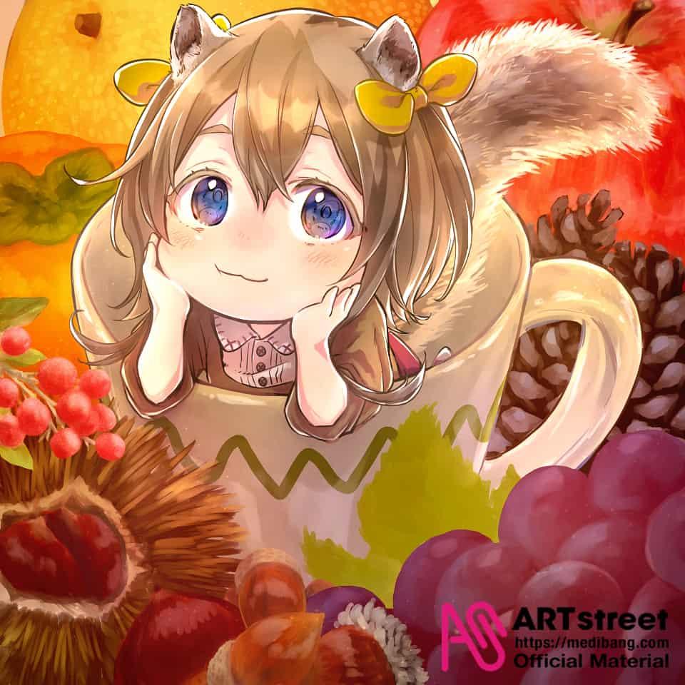 実りの秋 Illust of RokusakiEi tracedrawing3rd Squirrel autumn Trace&Draw【Official】 ribbon