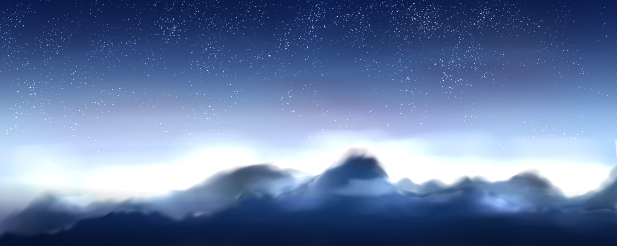 山。 Illust of 如月来蕾≮TRPG≯ medibangpaint space 風景画 star clouds original 山 practice
