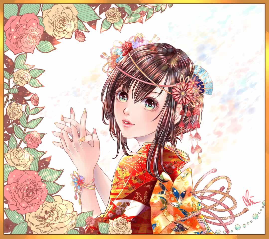百花綻放 Illust of Miru米如 Kyoto_Award2020_illustration January2021_Contest:OC girl 着物少女 Japanese_style 微笑 flower illustration kimono 溫暖 日系 original