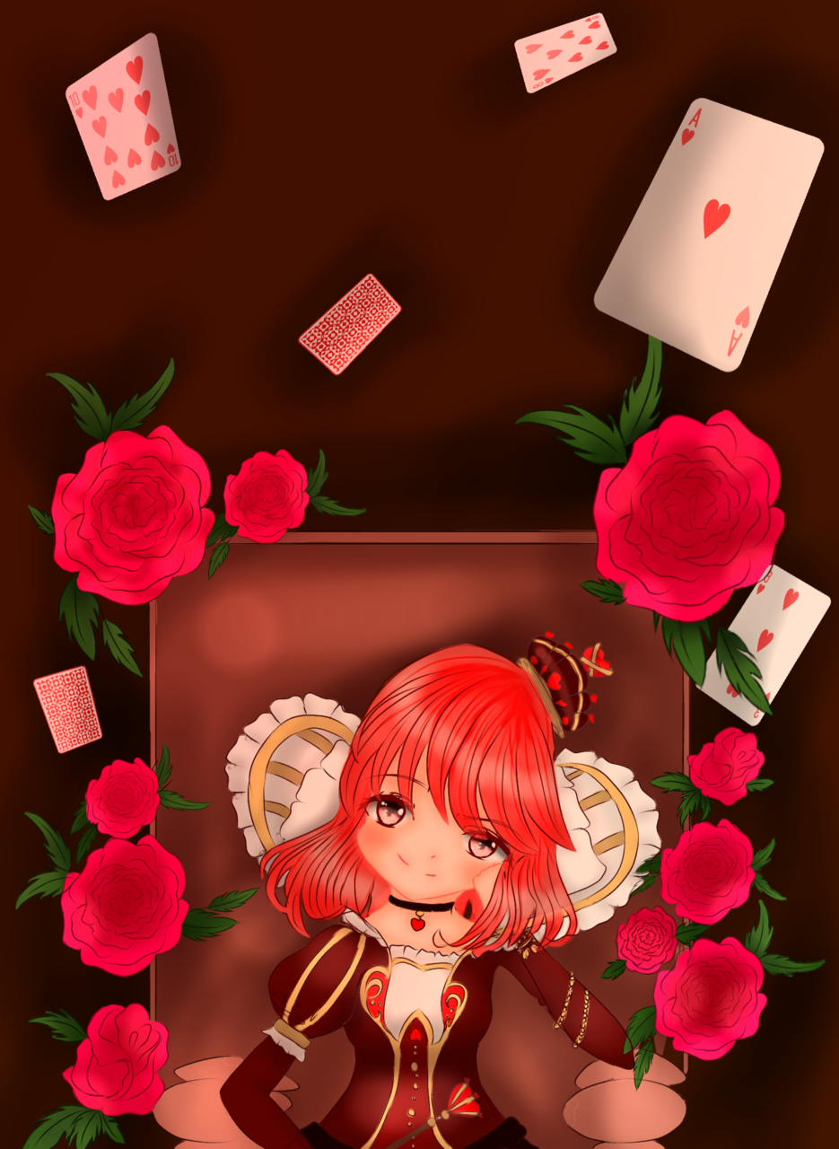 Queen of hearts  Illust of Kaiso Cards rose Fingerpaint red queen