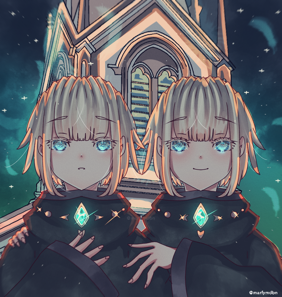 Dawn starts with the sound of bell. Illust of Marfy January2021_Contest:OC girl kawaii メルヘン boy blonde blue 双子 night 教会 宝石