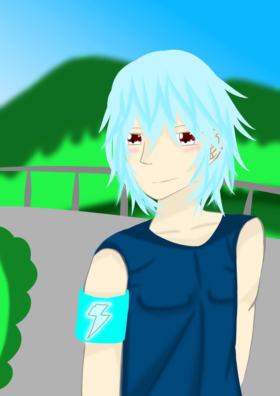 在路上跑步的男孩 Illust of 神祕的星彩star 山 boy 訓練背景 特效blingbling background 訓練陰影 背心