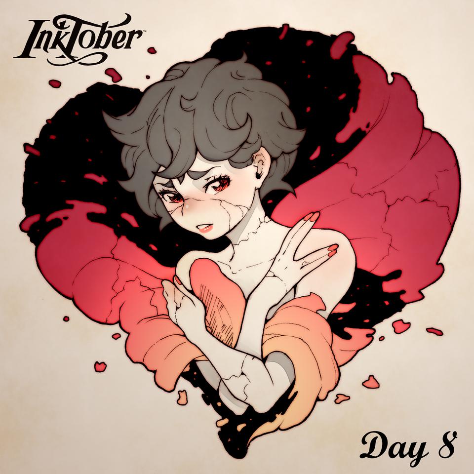 Inktober DAY 8: Frail Illust of MoDathan romance heart cute day8 broken love frail Inktober ink
