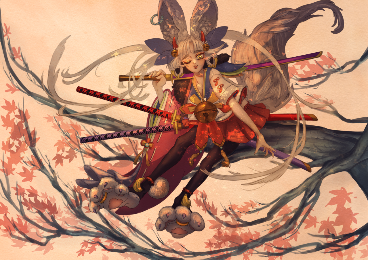 ケモミミ 獸耳娘 Illust of 魚貓 fishcat 刀 girl 獸耳 original ケモミミ 自創