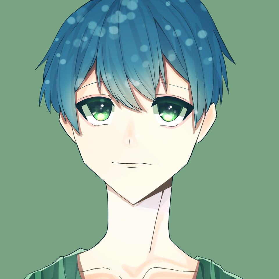 けばちゃんあーげる☆ Illust of おみそ#田舎同盟 illustration blue boy CLIPSTUDIOPAINT green
