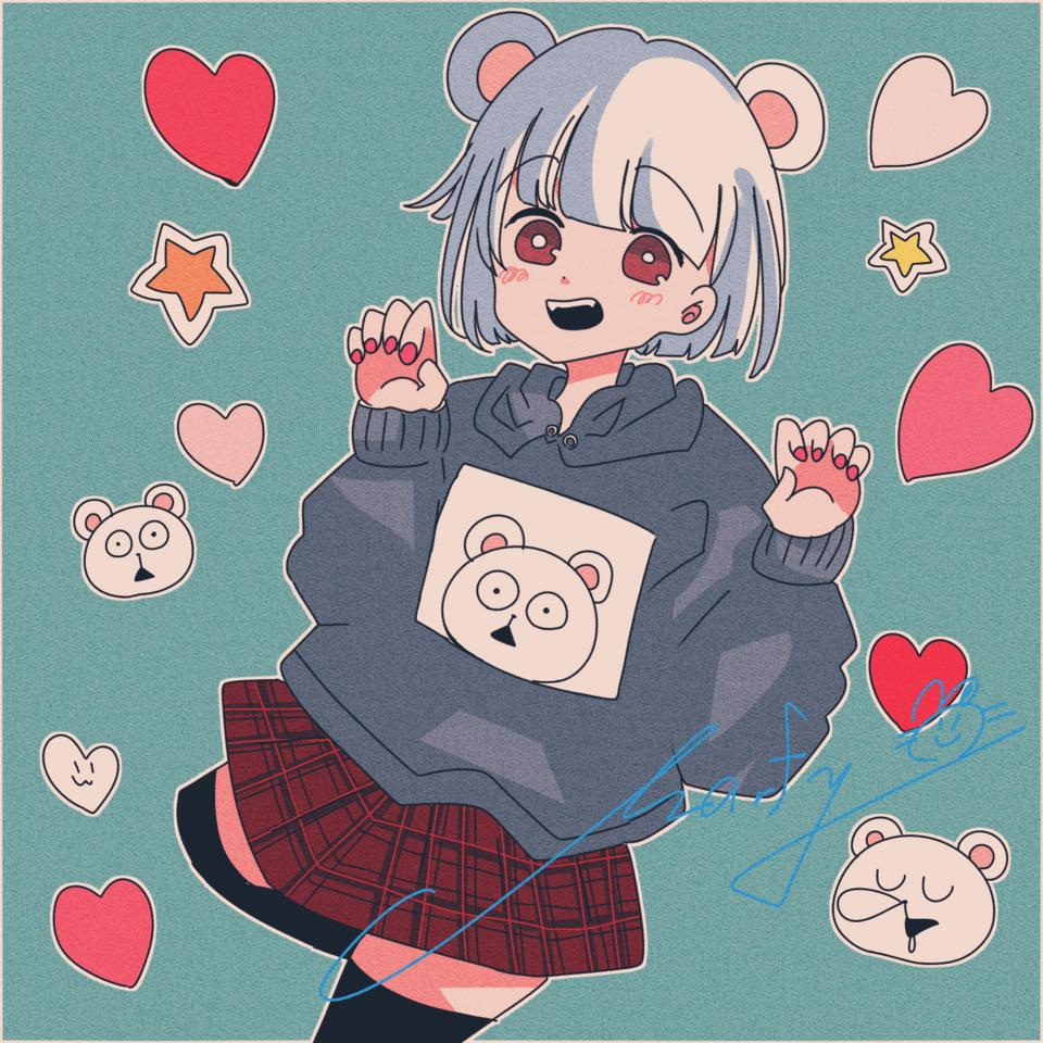 配信で描いたやつ しろくまちゃん Illust of Marfy kawaii girl くま hoodie