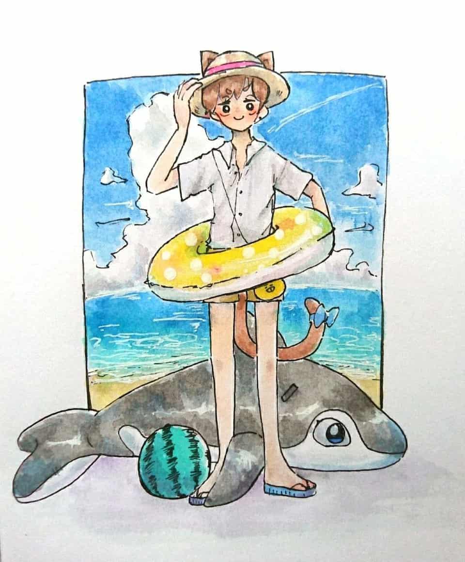 Summer!!!!!! Illust of NiRo sea summer iPad_raffle boy