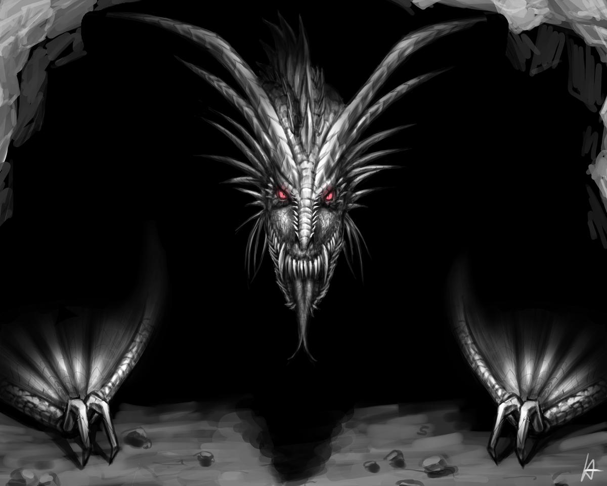 dragon raw raww Illust of Zylinderkopf August2020_Contest:Horror MyIdealWaifu_MyIdealHusbandoContest MyIdealWaifu blackwhite dragon redeyes dragons digitalartwork