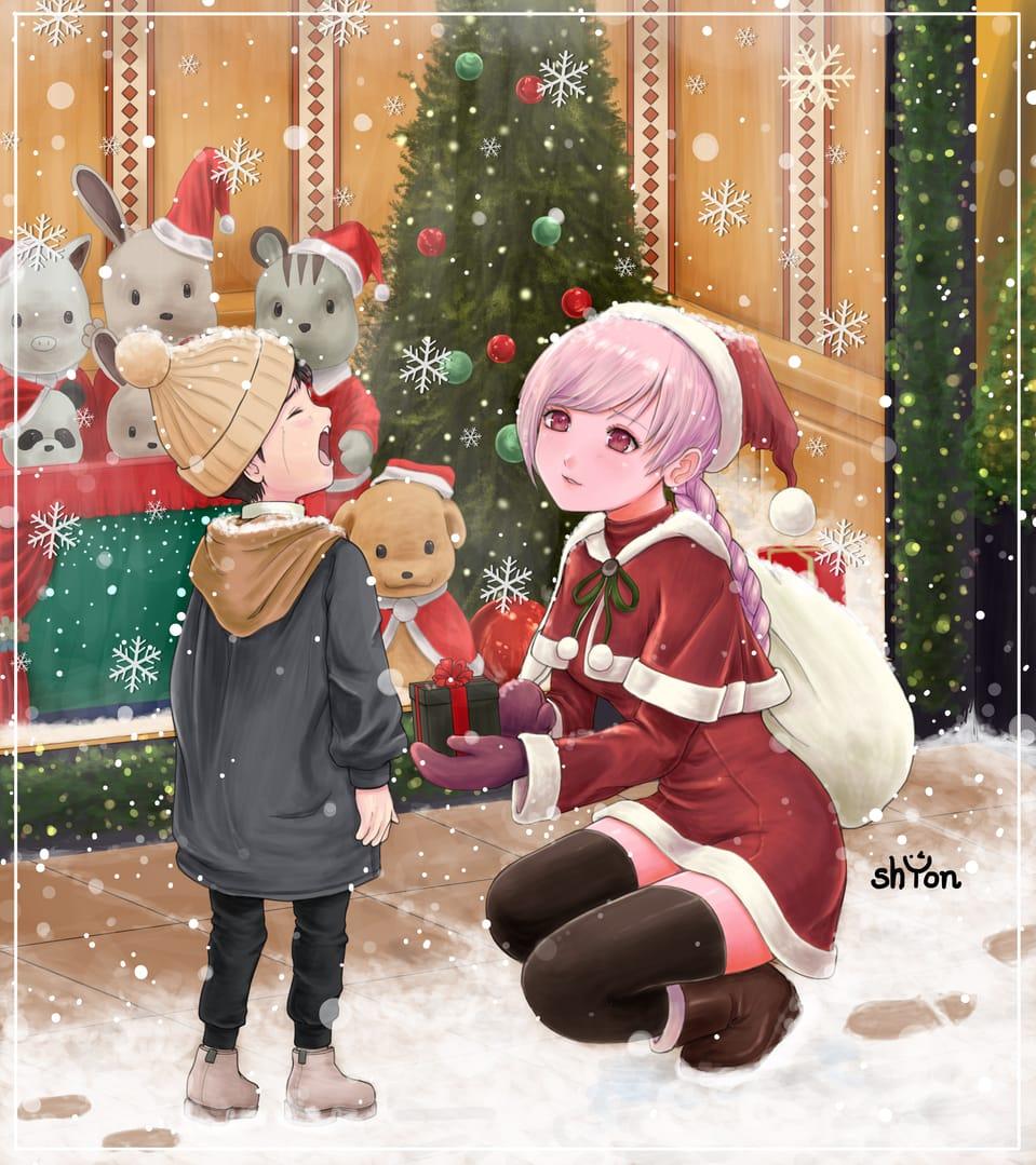 「大丈夫、すぐ見つかるから。ほら、プレゼントもあるよ」 Illust of shYon(シオン) December2020_Contest:Santa サンタ おんなのこ サンタコス kawaii