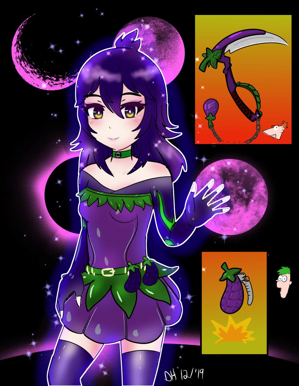 Eggplant quest outfit!