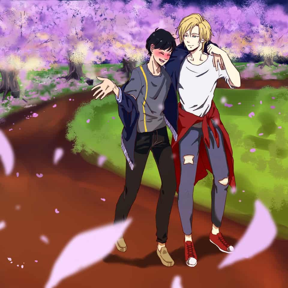Stroll by the cherry blossoms Illust of criselda_ato Eiji Ash BANANAFISH medibang AshLynx