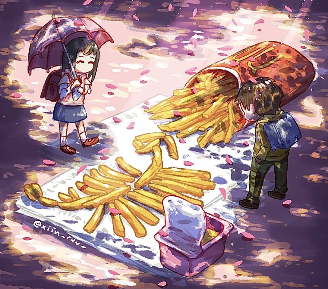秒速5センチメートル Illust of xiin_ruu_ illustration MyArt fanart medibangpaint anime pink sakura food cute art
