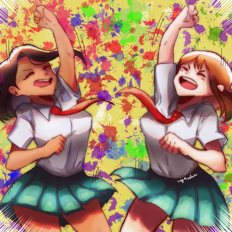 PLUS ULTRAAA Illust of Ladymilkshake_ MyHeroAcademia illustration ochakouraraka Ochako hero cute bnhafanarts bnhaoc Highschool