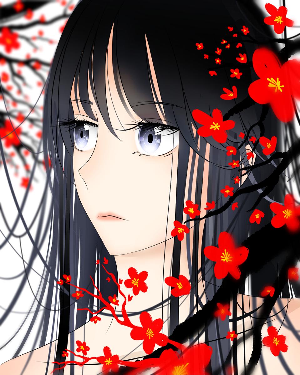 Plum blossom Illust of VioletHoshimi April2021_Flower medibangpaint girl original