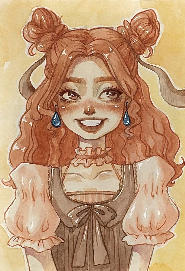 戴藍寶石耳環的女孩 Illust of Linchi September2021_Girl 粉色系 coloredpencil 水彩画 可愛少女