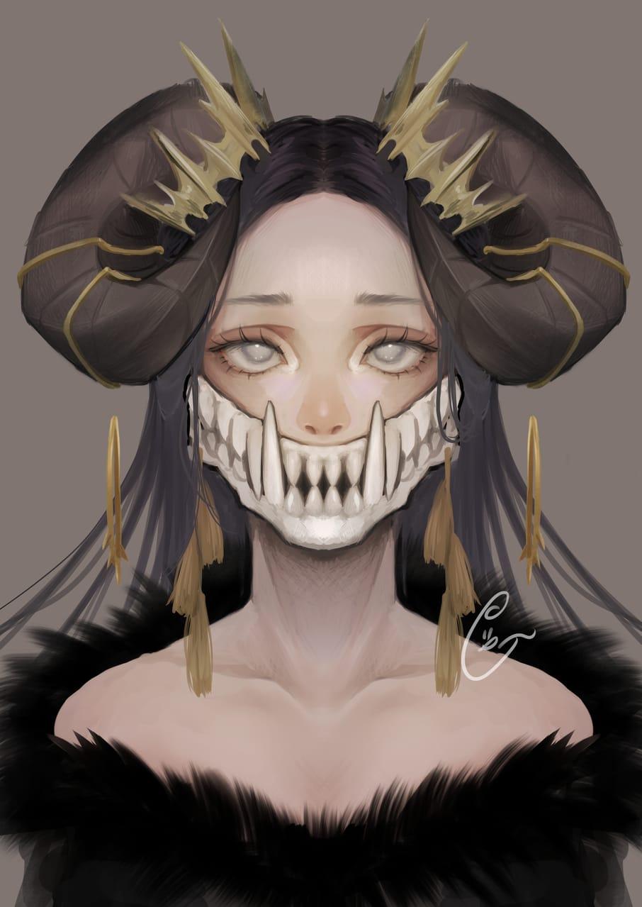 Illust of ぐら ぺぴ子 September2021_Girl ARTstreet_Ranking_Contest 黒髪 girl horn illustration impasto oc original