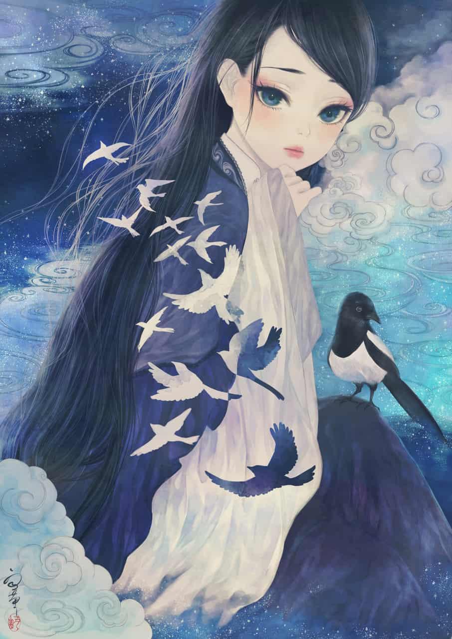 鵲橋 Illust of 丑山雨 黒髪 girl 七夕 blue