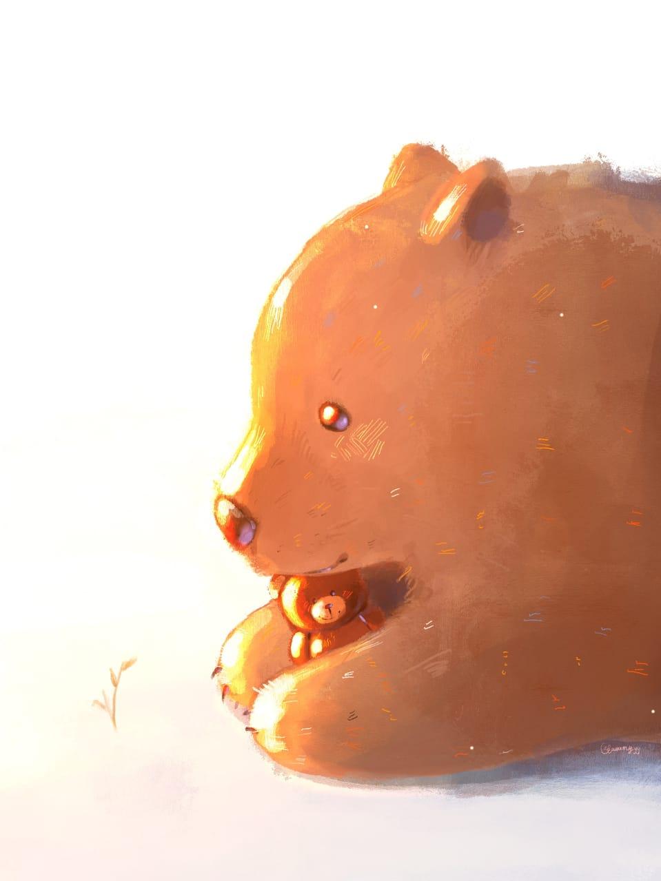 Big teddy & small teddy :) Illust of Gummy.yy teddybear illustration heartwarming cute